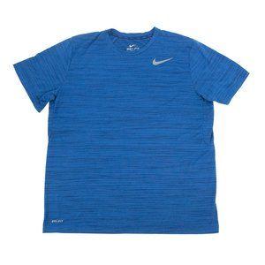 Nike Dri-Fit Shirt Activewear Crew Neck Blue Large